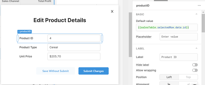 the default value for a text input in a modal