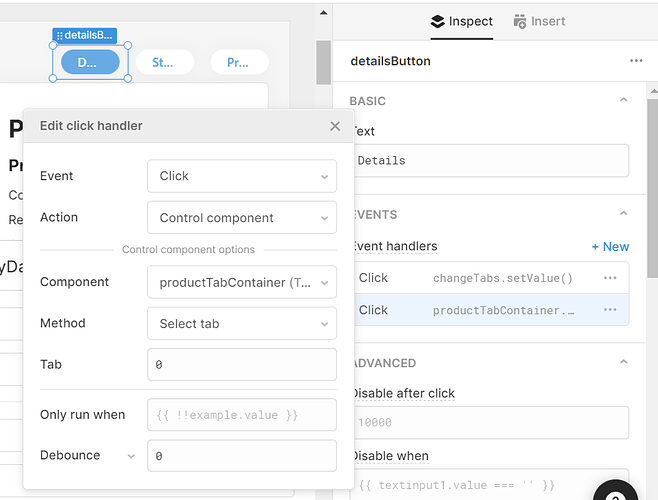 click handler for a button which switches tab on click