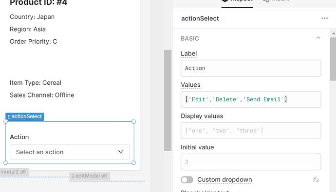 dropdown settings show values