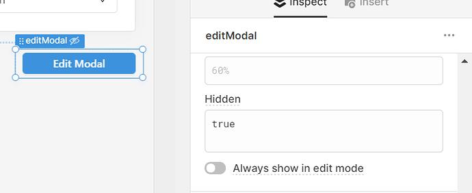 edit modal button settings, hidden when true