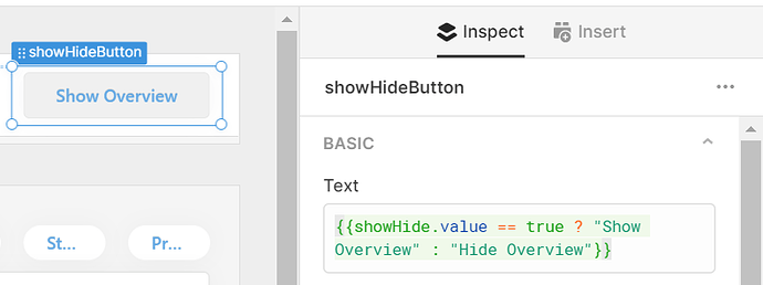 show overview button settings - text switches from show to hide using a ternary