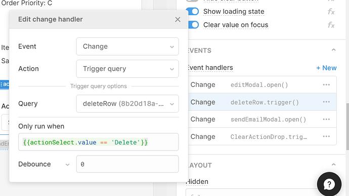 dropdown click handler sets query on click
