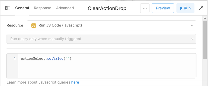 javascript code to reset dropdown value after selection