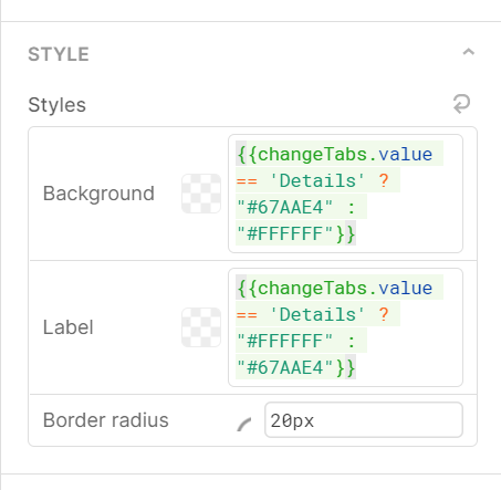 color settings for buttons - colors switch using a ternary according to temp state