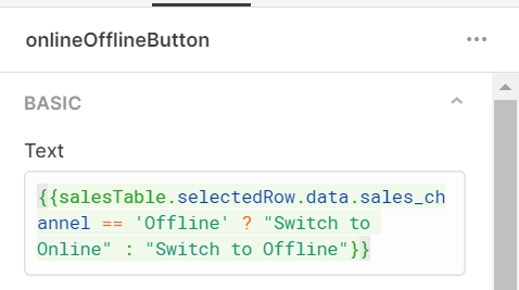 text value for the online/offline button showing a ternary which switches based on backend data